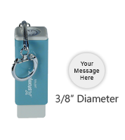 "Customize this 3/8"" round stamp with 1 line of text or a small image in your choice of 11 ink colors. Perfect for on the go use. Orders ship free over $45."