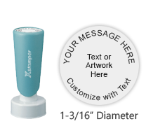"Customize this 1-3/16"" round stamp with 5 lines of text or artwork in your choice of 11 ink colors. Ideal for inspection or address stamps. Ships free in 2-3 business days."