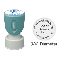 "Customize this round 3/4"" stamp with up to 3 lines of text or artwork and choose from 11 ink colors. Ideal for monograms or logos and ships free in 2-3 business days."
