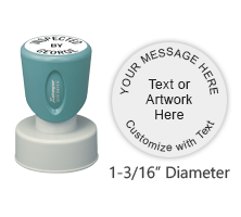 "Customize this 1-3/16"" round stamp with 5 lines of text or artwork in your choice of 11 ink colors. Use for logos or labels. Ships free in 4-5 business days."