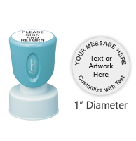 "Personalize this 1"" round stamp with text or artwork and choose from 11 ink colors. Great for monograms, labels, or addresses. Ships free in 4-5 business days."
