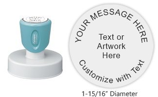 "Customize this premium quality 1-15/16"" round pre-inked stamp with text or artwork in your choice of 11 exciting ink colors. Ships free in 4-5 business days."