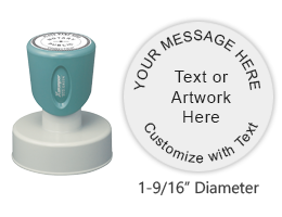 "Personalize this round 1-9/16"" stamp with up to 5 lines of text or artwork available in 11 ink colors. Great for logos or general messages. Ships free in 2-3 business days."
