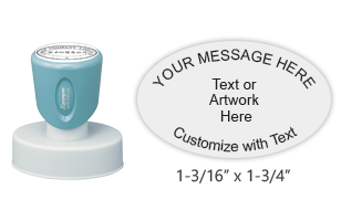 Customize this oval stamp with text in your choice of 11 ink colors. No artwork upload available and no live preview available. Ships free in 4-5 business days.