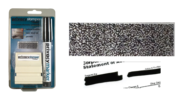 Redacting small rubber stamp and marker kit for redacting personal information on mail, packages, prescription bottles and more. Ships free in 4-5 business days.