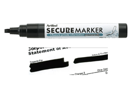 Artline Secure Marker with special black ink for redacting private information. Volume discounts. Perfect for mail, sensitive documents and more.