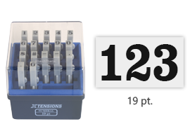 This stamp set includes 17 pieces that connect vertically or horizontally to create a numeric message or sequence for stamping. Use with ink pad sold separately.
