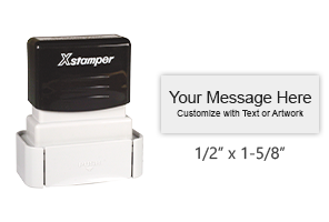 "Add 5 lines of text or small artwork to this 1/2"" x 1-5/8"" permanent marking stamp with a choice of 8 ink colors! Fast Drying. Orders over $25 ship free!"
