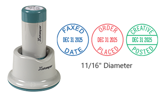 """Customize this 11/16"""" round dater with up to 2 lines of text in your choice of 11 ink colors. Permanent and portable stamp solution. Includes 6 year bands."""
