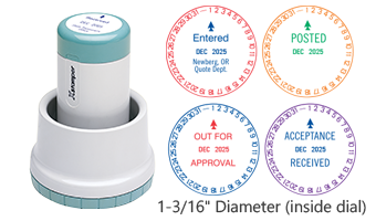 """Xstamper® N77 Rotary Xpedater Date stamp, 2 colors w/ 11 color choices each. Impression size inside dial is 1-3/16"""" diameter w/ 3 lines of customization."""