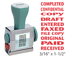 """Xstamper® 10-in-1 Change Phrase Stamp available in RED INK ONLY! Impression size: 3/16"""" x 1-1/2"""". Refillable. Fast & free shipping with orders $45 and over!"""