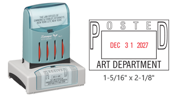 """Customize this 1-5/16"""" x 2-1/8"""" pre-inked dater with up to 4 lines of text/logo in your choice of 11 ink colors. Includes 8 year bands. Free shipping over $45"""