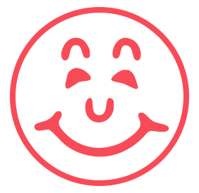 "Happy Face pre-inked rubber stamp available in red ink with an impression size of 5/8"" in diameter. Get free shipping on online orders over $15."