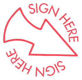 "Sign Here with Arrow pre-inked rubber stamp available in red ink with an impression size of 5/8"" in diameter. Get free shipping on online orders over $15."