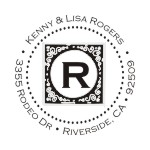 Round monogram address stamps. Custom designs. Free shipping. 11 ink colors. Secure order online. Round monogram stamps at Knockout Prices from RubberStampChamp.com