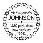 Daisy Chain round monogram address stamp in your choice of 11 ink colors.  Many other pre-inked styles to choose from.  Shop now and get free shipping.