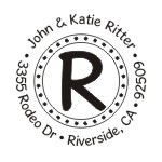 Polka Dot round monogram address stamp in your choice of 11 ink colors.  Many other styles to choose from. Orders over $45 ship free!