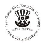 Tea party round monogram address stamp in your choice of 11 ink colors.  Many other styles to choose from. Orders over $45 ship free!