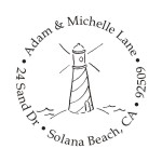 Lighthouse round monogram address stamp in your choice of 11 ink colors.  Many other styles to choose from. Orders over $45 ship free!