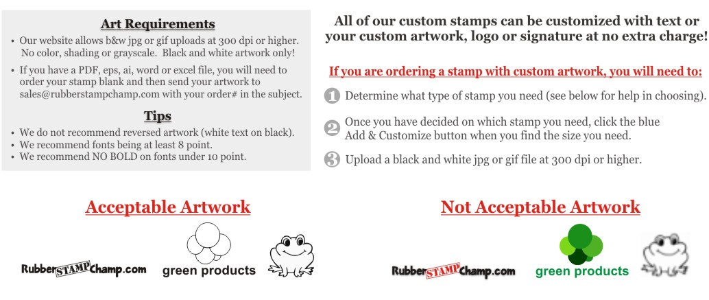 custom stamps art requirements