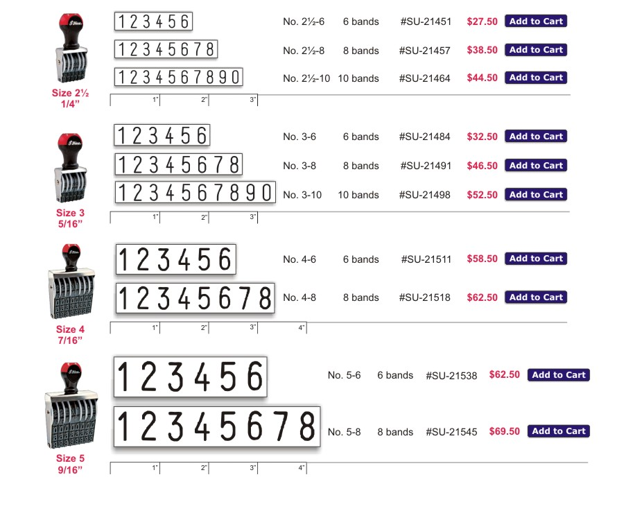Rubber Stamp Numbers