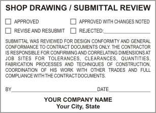 Engineer/Architect Shop Drawing & Review Stamps. Professional submittal stamps for engineers/architects. EZ Order by state. Self inking architect review stamps. Pre inked engineer stamps. Architect embossers. Secure ordering. Free Shipping.
