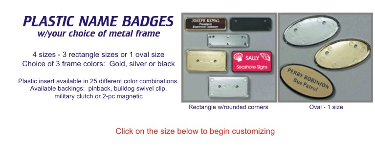 Custom Plastic Name Badges with Frames