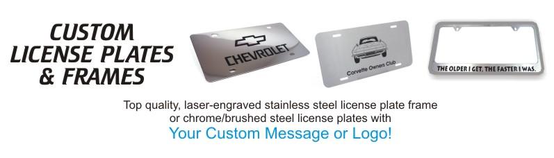 RubberStampChamp.com provides engraved license plate holders for less.