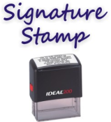 Custom Signature Stamps.  EZ order online. Secure. Self-inking, Pre-inked, Pocket Signature Stamps,Trodat, Xstamper, Ideal. Free Shipping over $10.