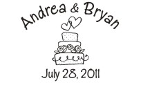 Personalize your wedding cards and notes with our unique pre-inked wedding name rubber stamp style 915. Many designs to choose from in your choice of 11 ink colors. Free shipping on orders over $10!