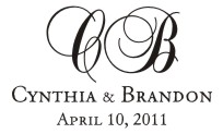 Personalize your wedding cards and notes with our unique pre-inked wedding name rubber stamp style 917. Many designs to choose from in your choice of 11 ink colors. Free shipping on orders over $10!