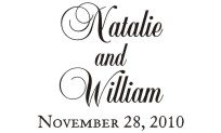 Wedding monogram name stamps. Custom designs. Free shipping. 11 ink colors. Secure order online. Wedding stamps at Knockout Prices from RubberStampChamp.com