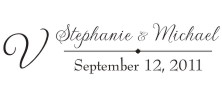 Personalize your wedding cards and notes with our unique pre-inked wedding name rubber stamp style 1007. Many designs to choose from in your choice of 11 ink colors. Free shipping on orders over $10!