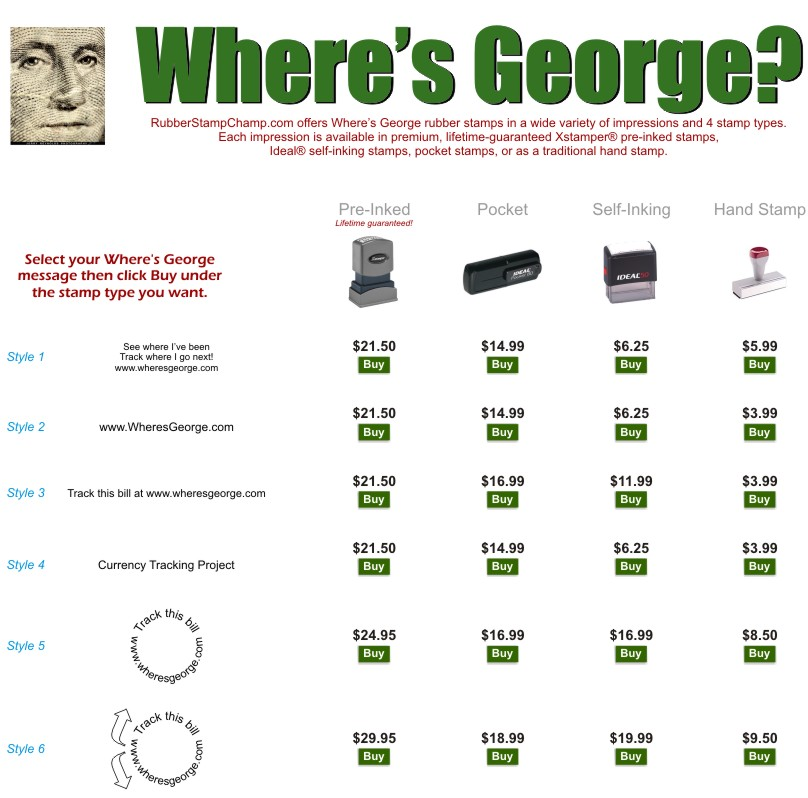 Everyone knows where George is, RubberStampchamp.com of course!