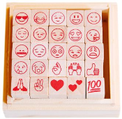 Add fun to your crafts with emojis! High quality wood rubber stamp set with 25 of the most used emojis with free shipping!
