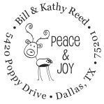 Reindeer peace and joy round monogram address stamp in your choice of 11 ink colors. Many other styles to choose from. Orders over $45 ship free!