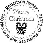 Merry Christmas candy cane round monogram address stamp in your choice of 11 ink colors.  Many other pre-inked styles to choose from.  Shop now and get free shipping.
