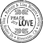 Peace joy love round monogram address stamp in your choice of 11 ink colors.  Many other pre-inked styles to choose from.  Shop now and get free shipping.