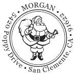 Santa Claus round monogram address stamp in your choice of 11 ink colors.  Many other pre-inked styles to choose from.  Shop now and get free shipping.