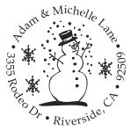 Snowman with snowflakes round monogram address stamp in your choice of 11 ink colors.  Many other pre-inked styles to choose from.  Shop now and get free shipping.