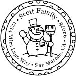 Happy snowman round monogram address stamp in your choice of 11 ink colors.  Many other pre-inked styles to choose from.  Shop now and get free shipping.