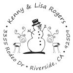 Snowman with reindeer round monogram address stamp in your choice of 11 ink colors.  Many other pre-inked styles to choose from.  Shop now and get free shipping.