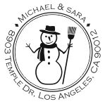 Snowman with scarf round monogram address stamp in your choice of 11 ink colors.  Many other pre-inked styles to choose from.  Shop now and get free shipping.