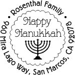 Hannukkah round monogram address stamp in your choice of 11 ink colors.  Many other pre-inked styles to choose from.  Shop now and get free shipping.