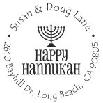 Happy Hannukkah round monogram address stamp in your choice of 11 ink colors.  Many other pre-inked styles to choose from.  Shop now and get free shipping.