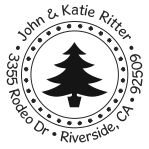 Solid Christmas tree round monogram address stamp in your choice of 11 ink colors.  Many other pre-inked styles to choose from.  Shop now and get free shipping.