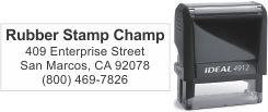 Top quality Ideal 4912 self-inking stamp. Free customization in your choice of 11 ink colors. Orders ship free over $10 in 24-48 hours.