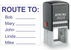 Top quality Ideal 4924 self-inking stamp. Free customization in your choice of 11 ink colors. Orders ship free over $10 in 24-48 hours.