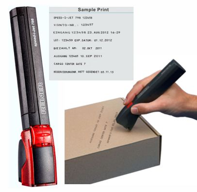 Mobile ink jet time and date stamp prints on any absorbent, flat, rigid, soft or uneven surface with the non-contact ink jet cartridge. Prints up to 40 characters on one line.