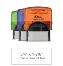 Customize free with text or your logo in your choice of 11 ink colors.  Ships in 1-2 business days and free shipping on orders over $10.  Top quality Shiny S-843 self-inking stamp.